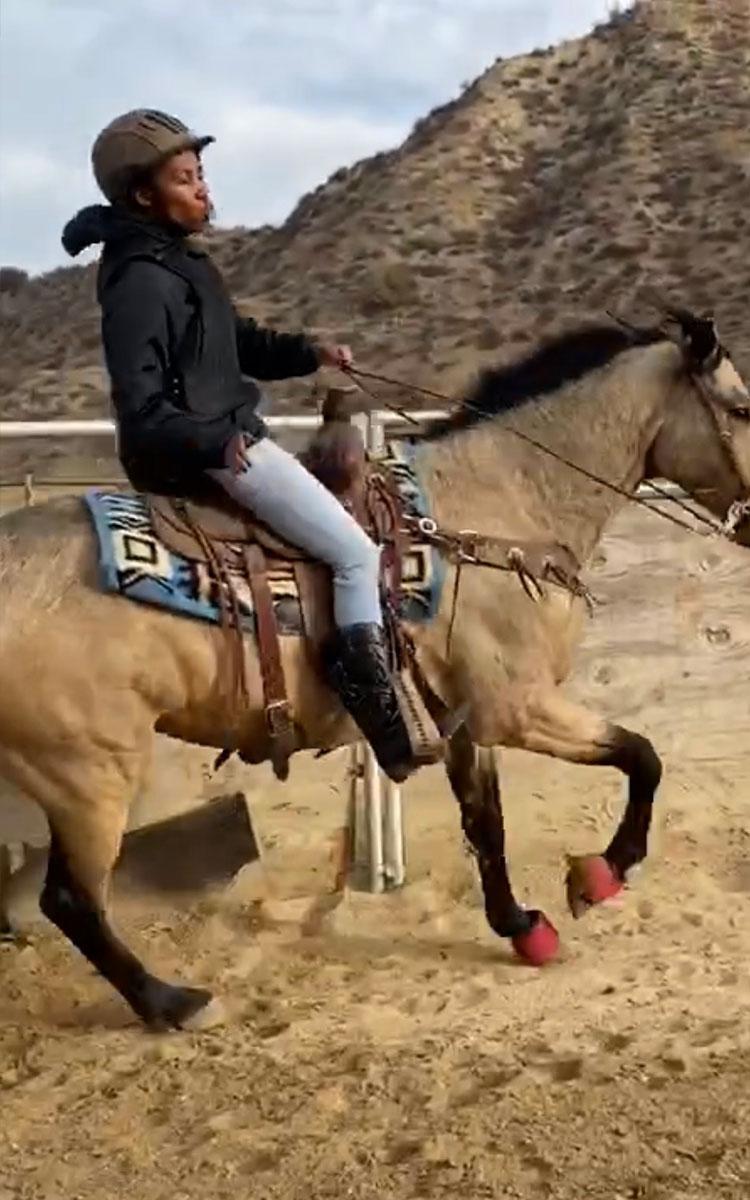 Carrie Bernans enjoying horse-riding