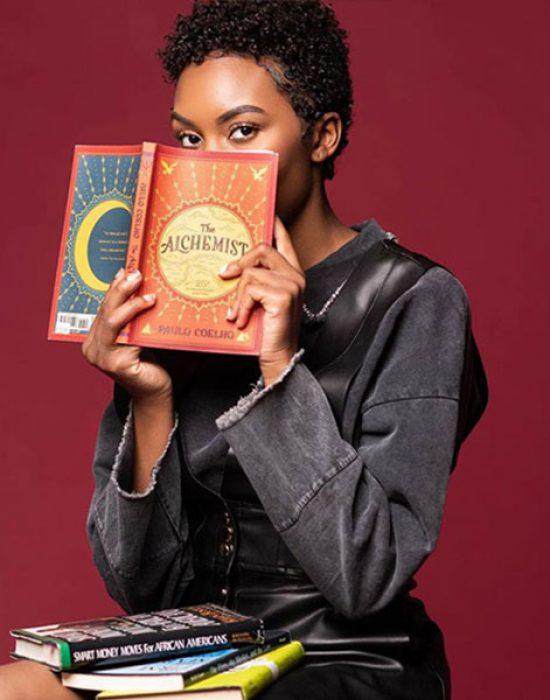 Carrie Bernans holding a book
