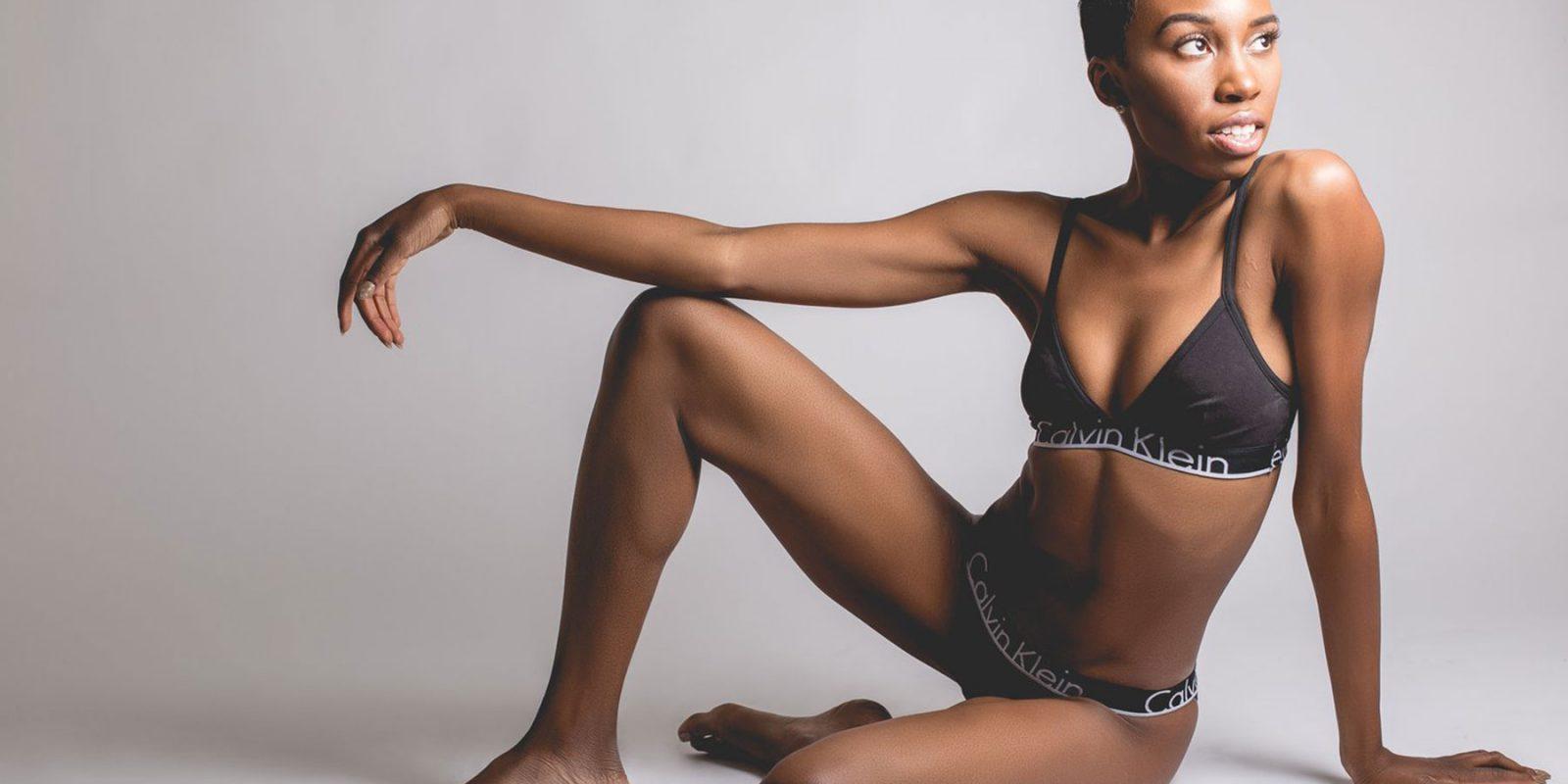 Actress Carrie Bernans in Calvin Klein underwear