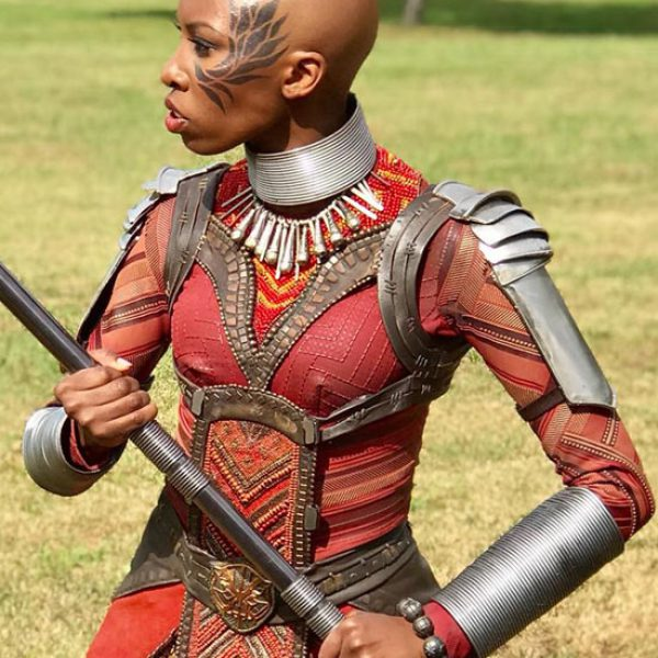 Carrie Bernans in Dora Milaje costume for Black Panther Movie